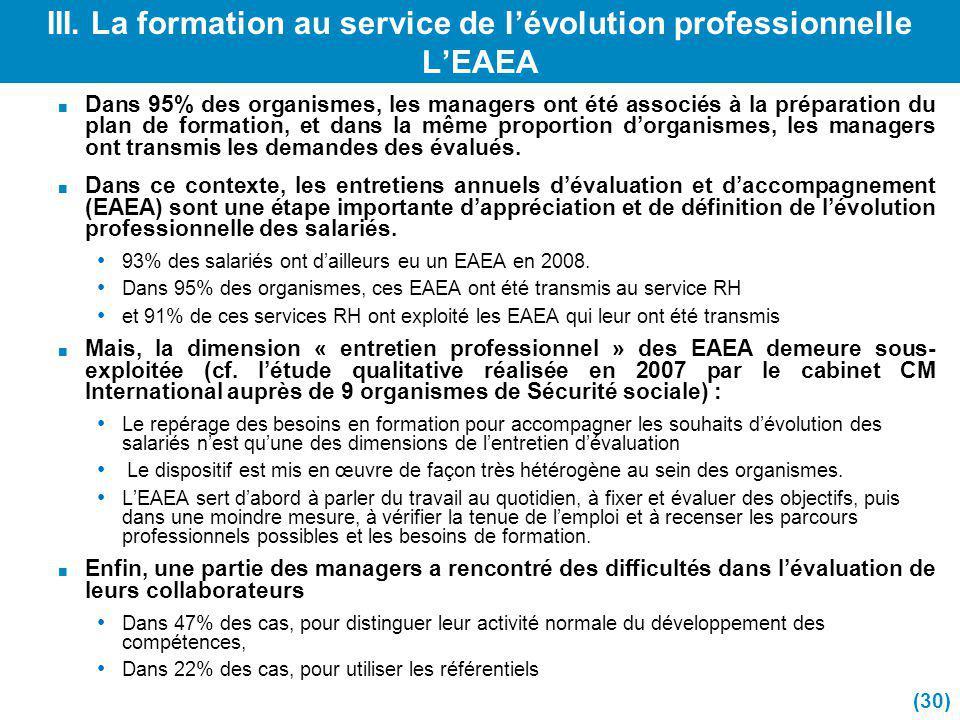 III. La formation au service de l'évolution professionnelle L'EAEA