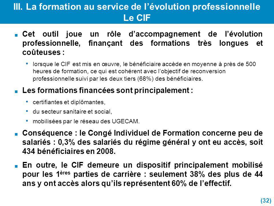 III. La formation au service de l'évolution professionnelle Le CIF
