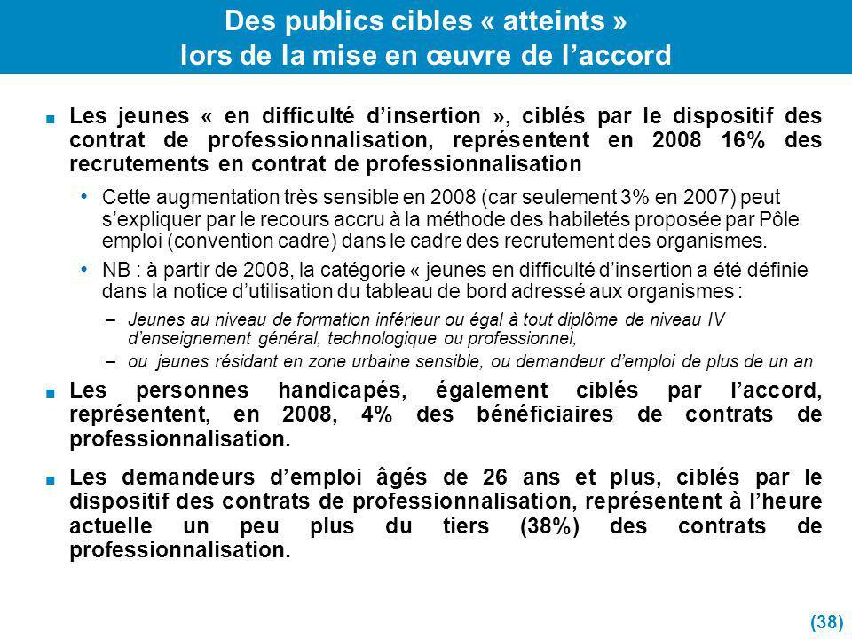Des publics cibles « atteints » lors de la mise en œuvre de l'accord