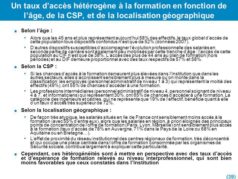 Un taux d'accès hétérogène à la formation en fonction de l'âge, de la CSP, et de la localisation géographique