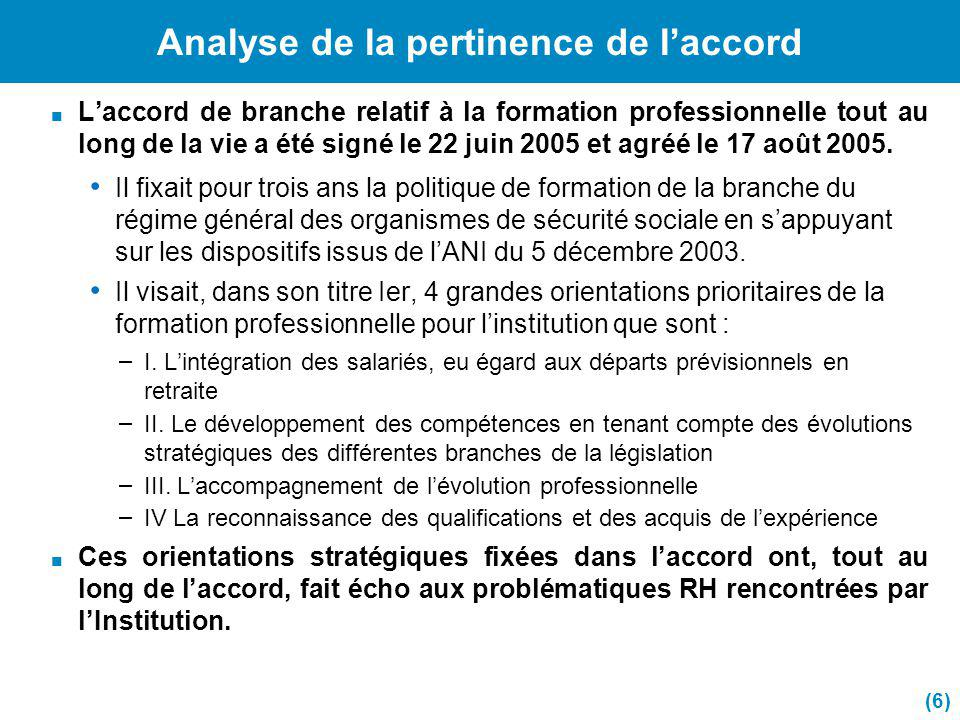 Analyse de la pertinence de l'accord