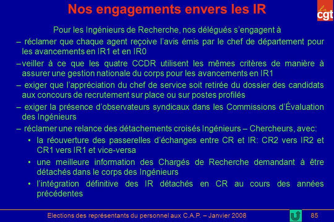 Nos engagements envers les IR