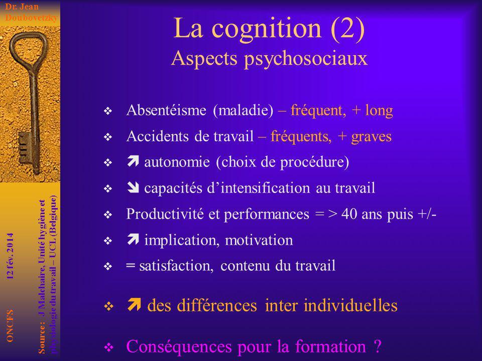 La cognition (2) Aspects psychosociaux
