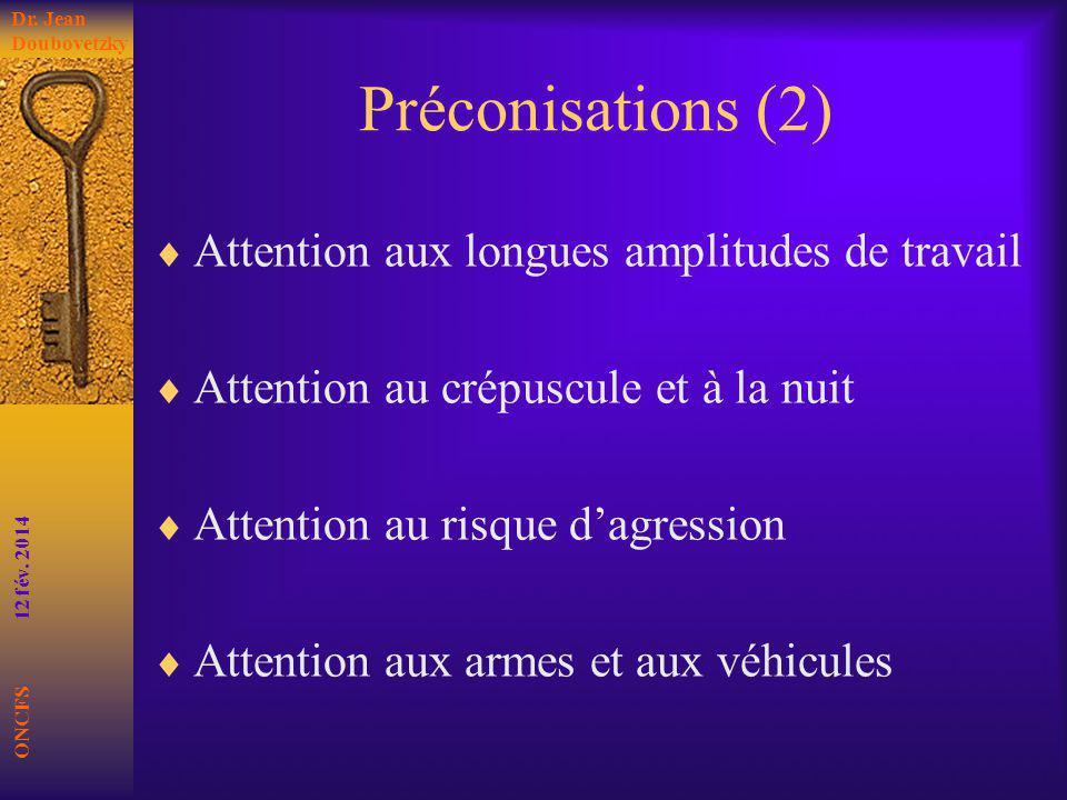Préconisations (2) Attention aux longues amplitudes de travail
