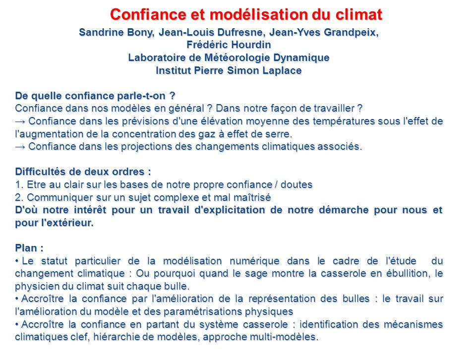 Confiance et modélisation du climat