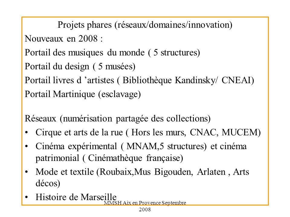 Projets phares (réseaux/domaines/innovation) Nouveaux en 2008 :