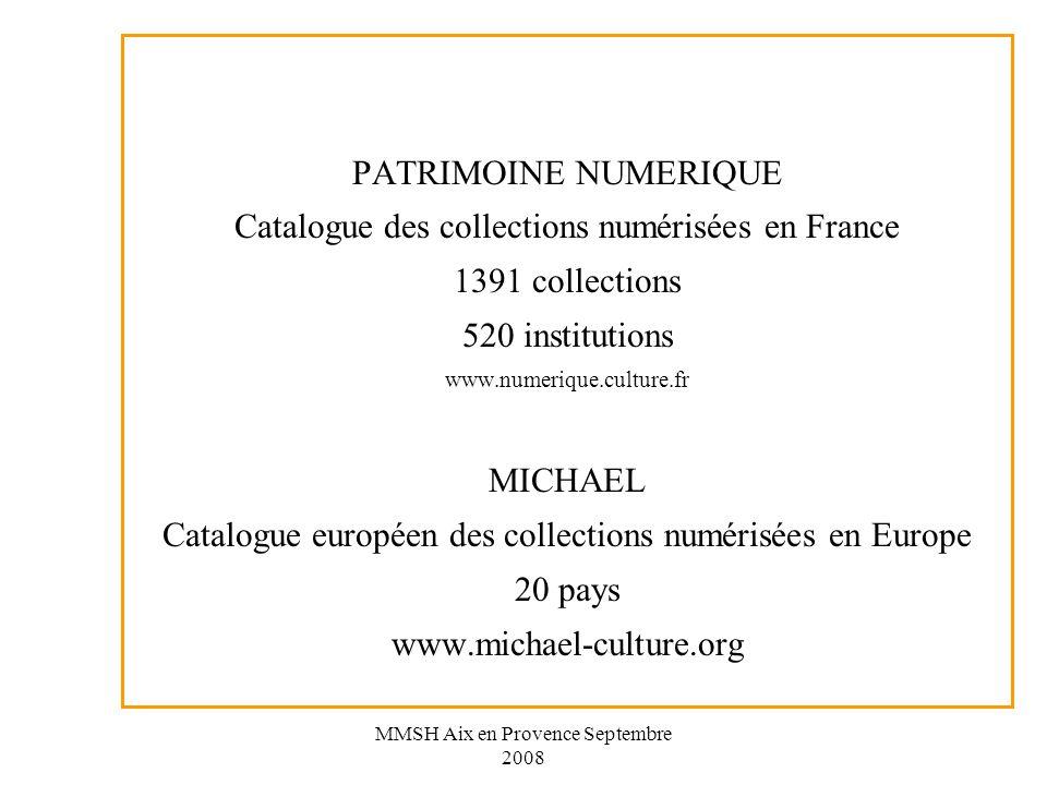 Catalogue des collections numérisées en France 1391 collections