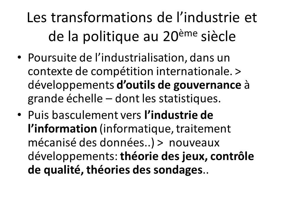 Les transformations de l'industrie et de la politique au 20ème siècle