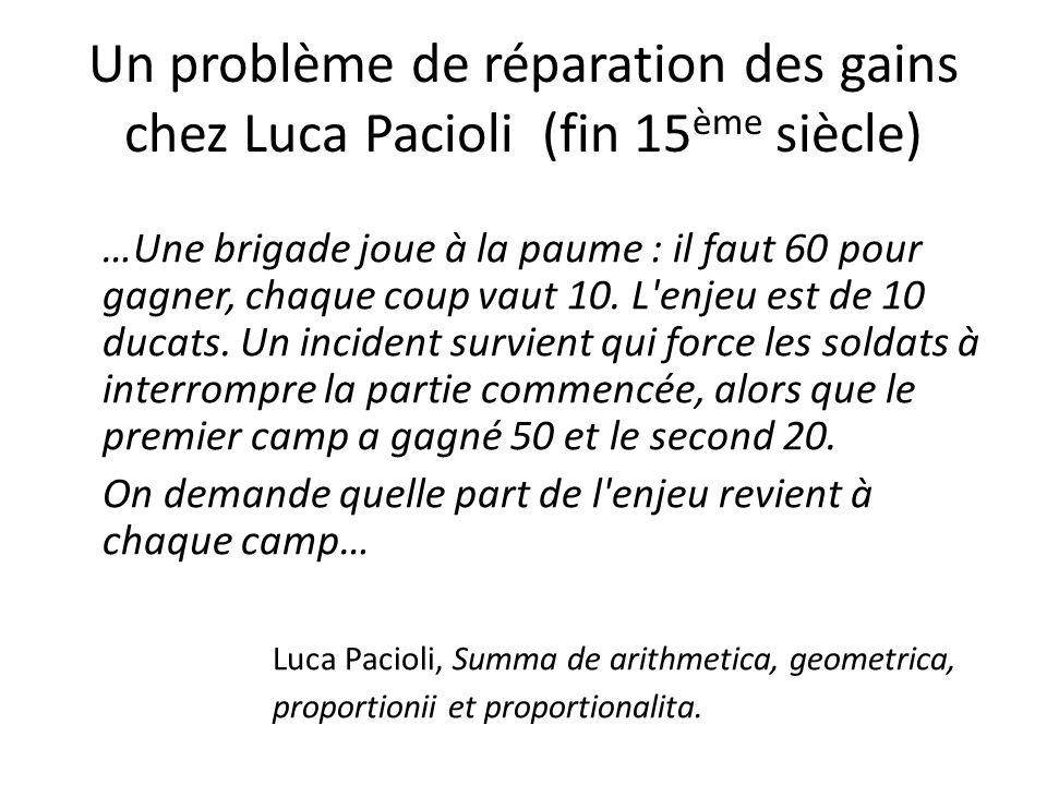 Un problème de réparation des gains chez Luca Pacioli (fin 15ème siècle)