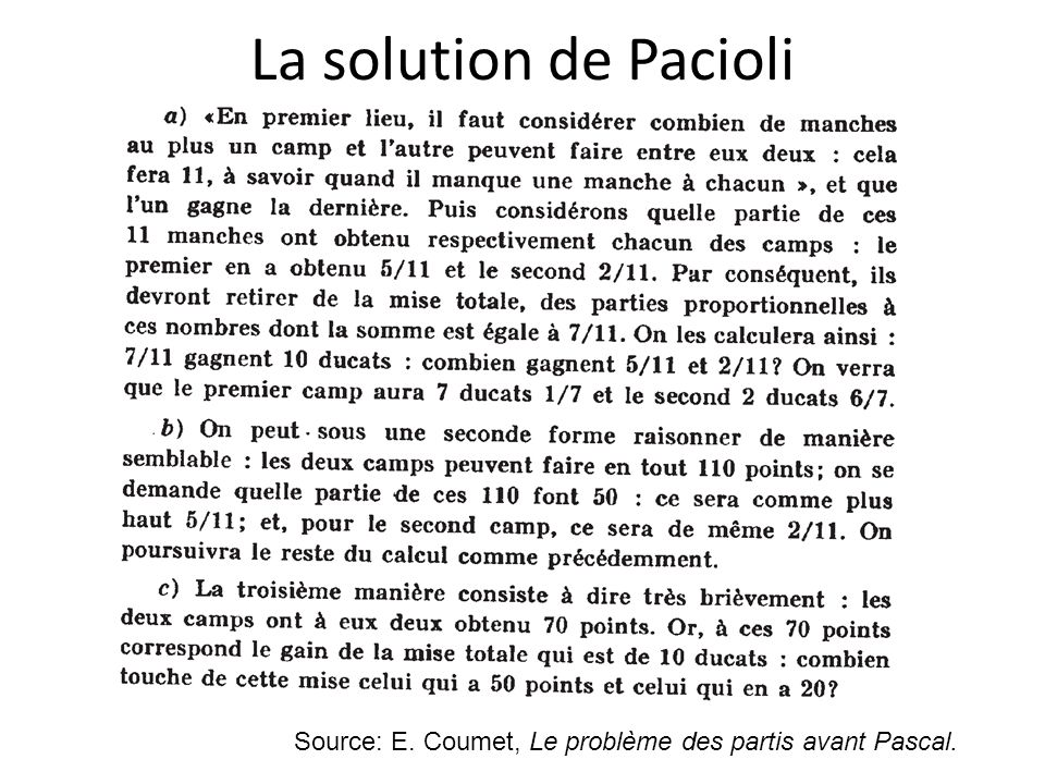 La solution de Pacioli Source: E. Coumet, Le problème des partis avant Pascal.