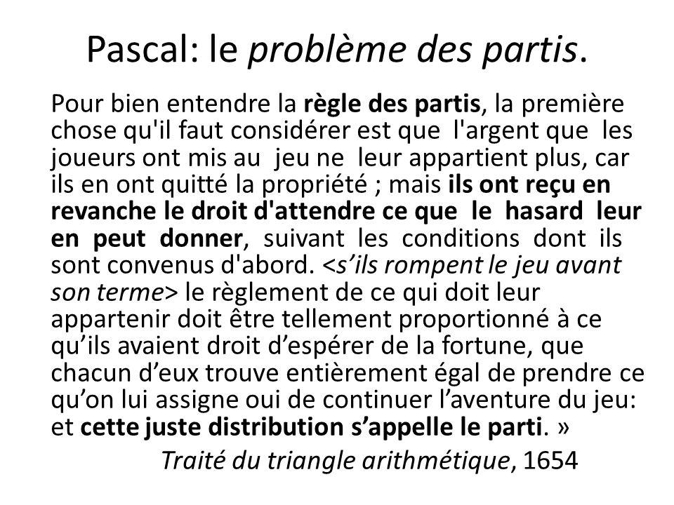 Pascal: le problème des partis.