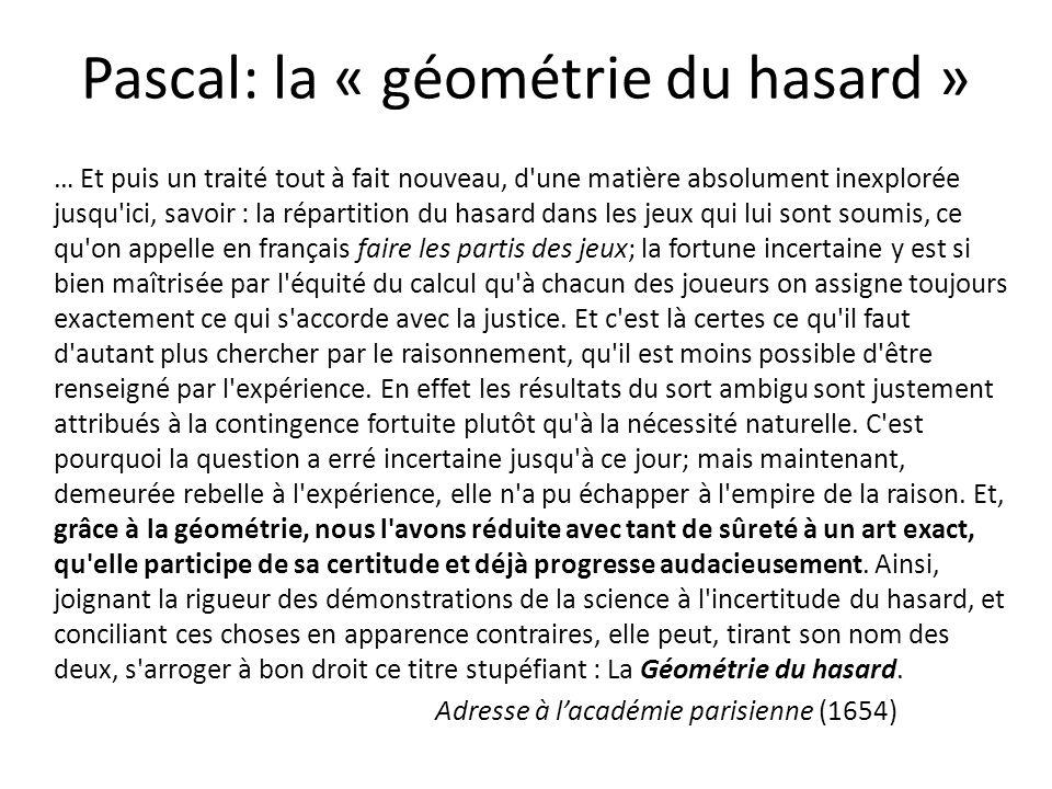 Pascal: la « géométrie du hasard »