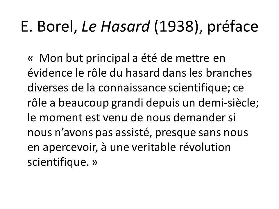 E. Borel, Le Hasard (1938), préface
