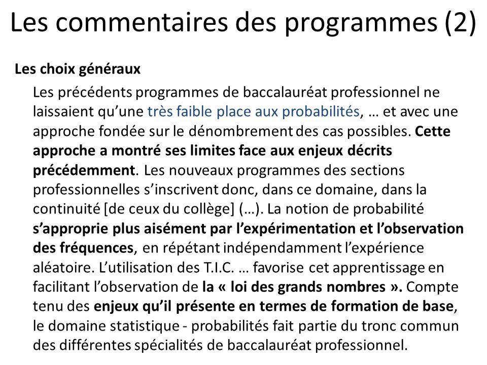 Les commentaires des programmes (2)
