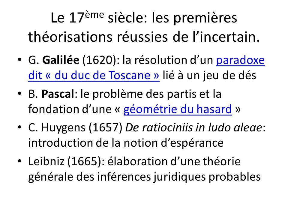 Le 17ème siècle: les premières théorisations réussies de l'incertain.