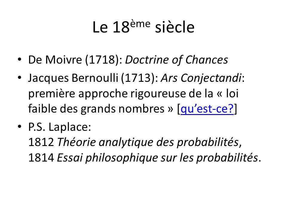 Le 18ème siècle De Moivre (1718): Doctrine of Chances