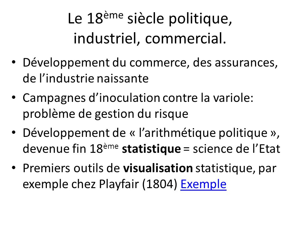 Le 18ème siècle politique, industriel, commercial.
