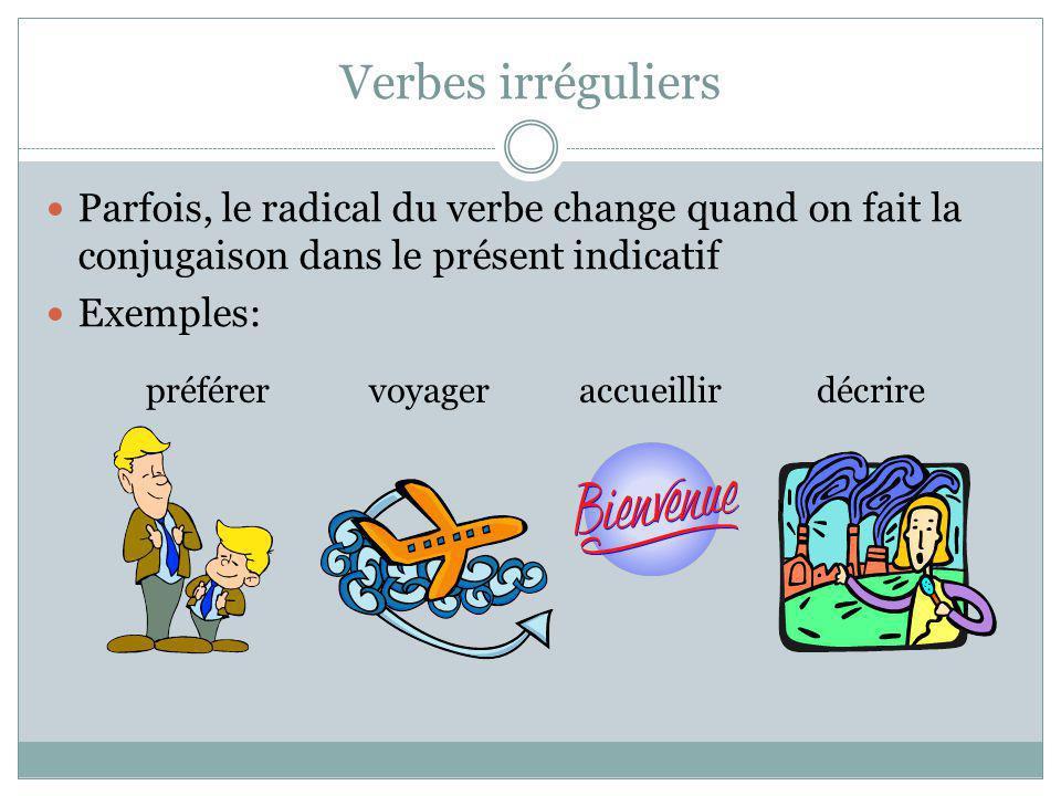 Verbes irréguliers Parfois, le radical du verbe change quand on fait la conjugaison dans le présent indicatif.