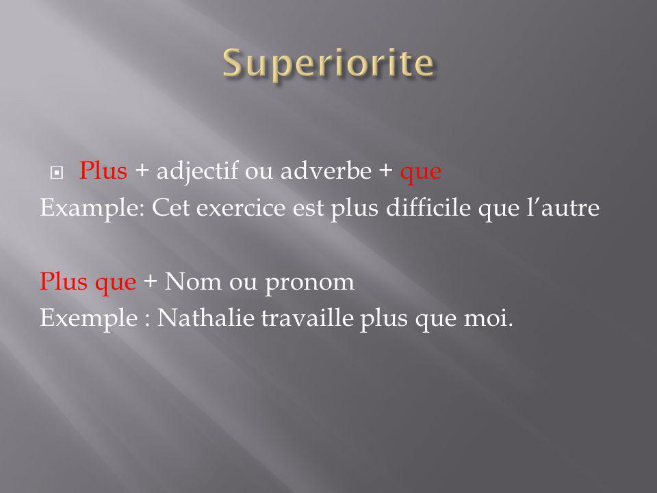 Superiorite Plus + adjectif ou adverbe + que