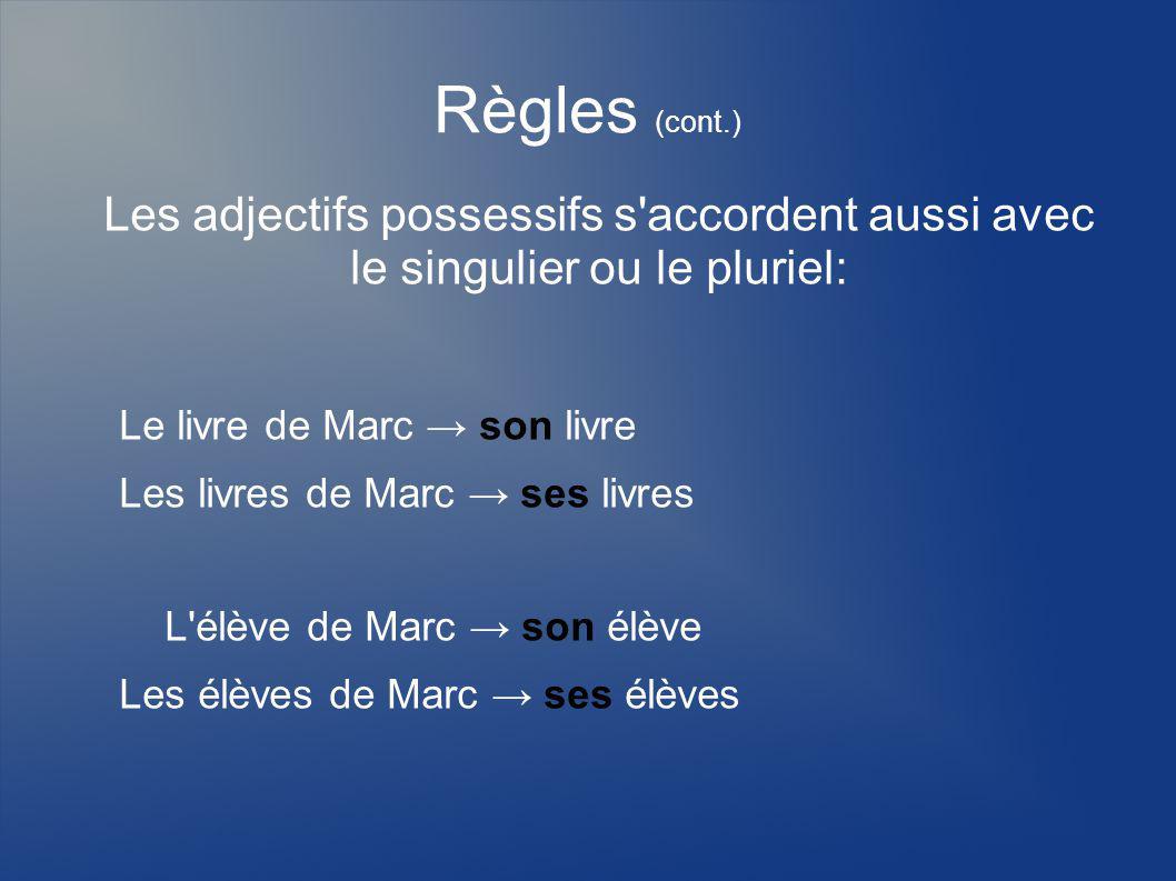 Règles (cont.) Les adjectifs possessifs s accordent aussi avec le singulier ou le pluriel: Le livre de Marc → son livre.