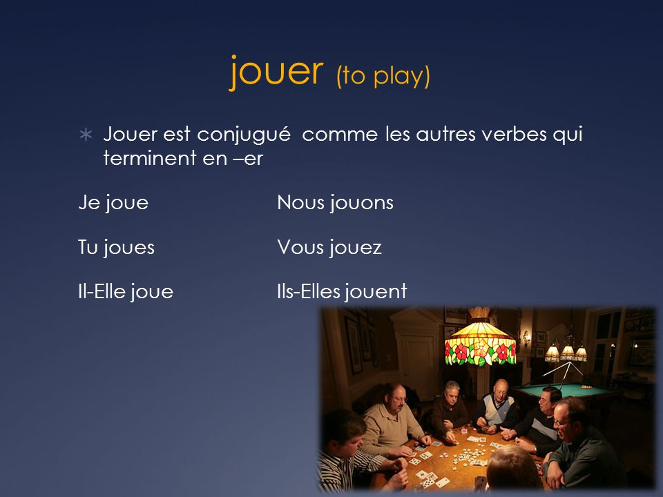 jouer (to play) Jouer est conjugué comme les autres verbes qui terminent en –er. Je joue Nous jouons.