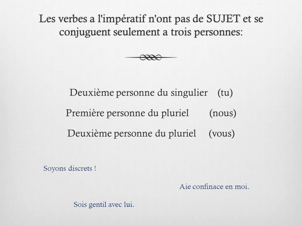 Les verbes a l impératif n ont pas de SUJET et se conjuguent seulement a trois personnes: