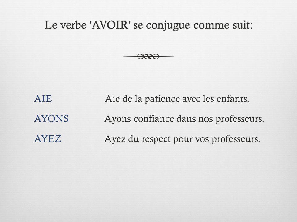 Le verbe AVOIR se conjugue comme suit: