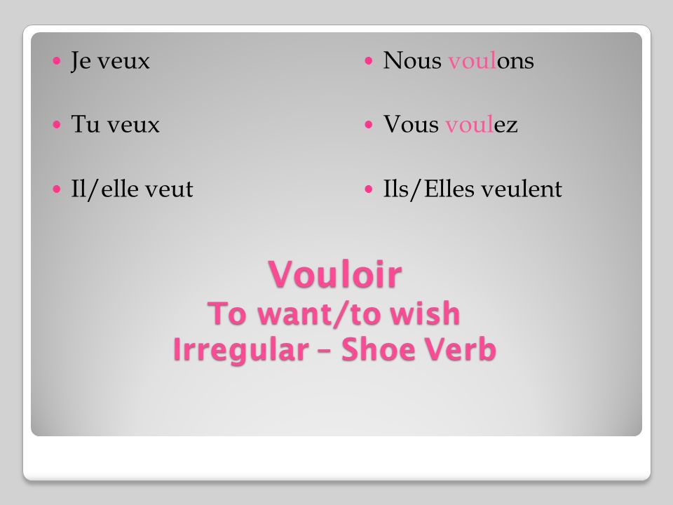 Vouloir To want/to wish Irregular – Shoe Verb