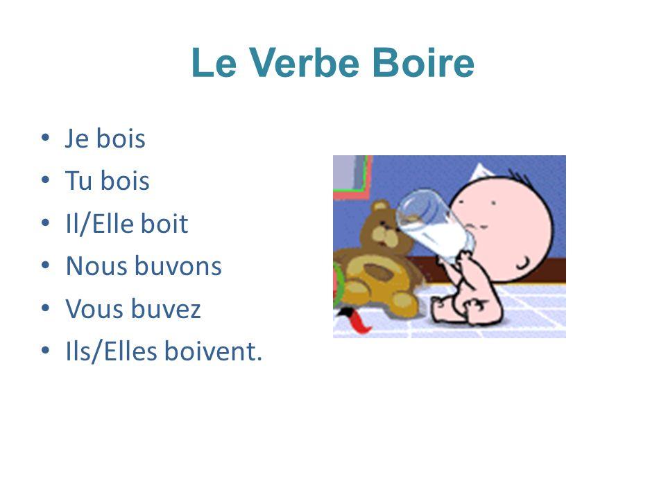 Le Verbe Boire Je bois Tu bois Il/Elle boit Nous buvons Vous buvez