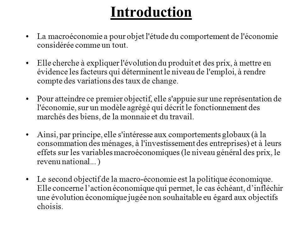 Introduction La macroéconomie a pour objet l étude du comportement de l économie considérée comme un tout.