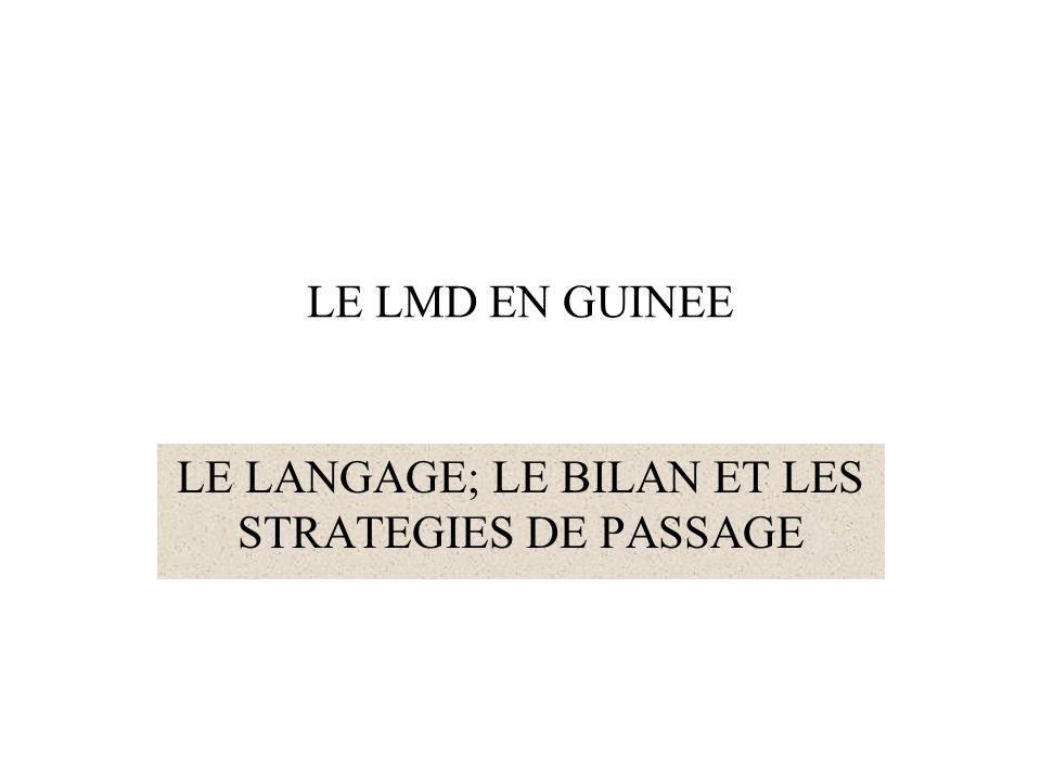 LE LANGAGE; LE BILAN ET LES STRATEGIES DE PASSAGE