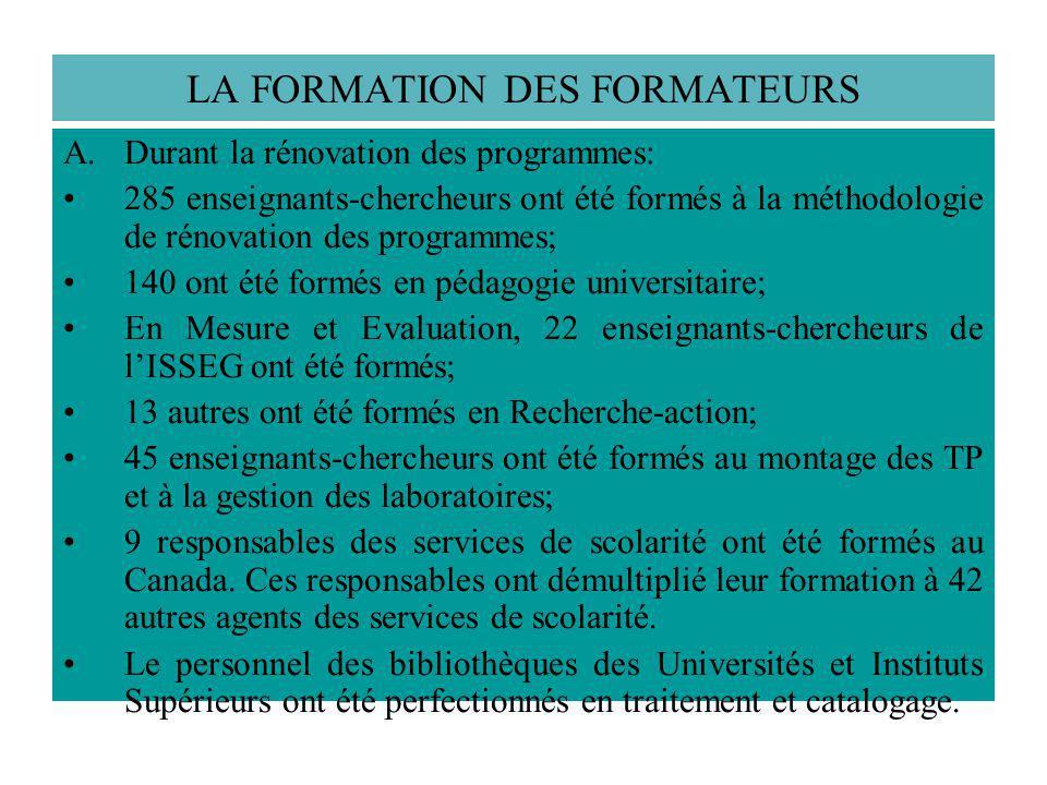 LA FORMATION DES FORMATEURS