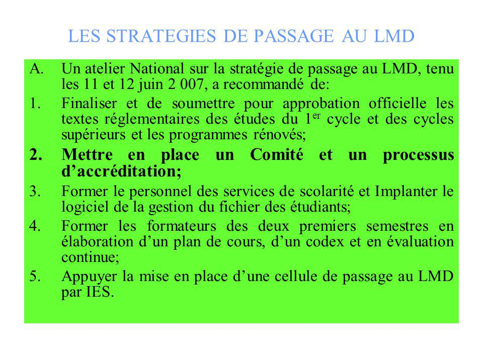 LES STRATEGIES DE PASSAGE AU LMD