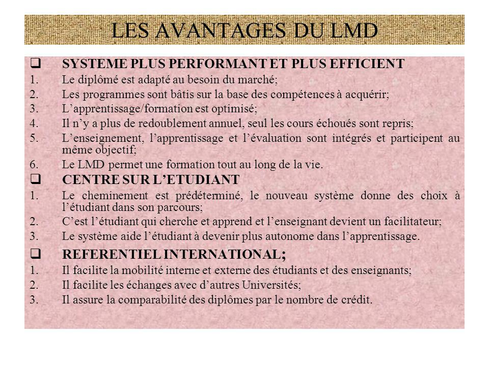 LES AVANTAGES DU LMD SYSTEME PLUS PERFORMANT ET PLUS EFFICIENT