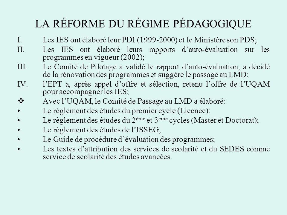 LA RÉFORME DU RÉGIME PÉDAGOGIQUE