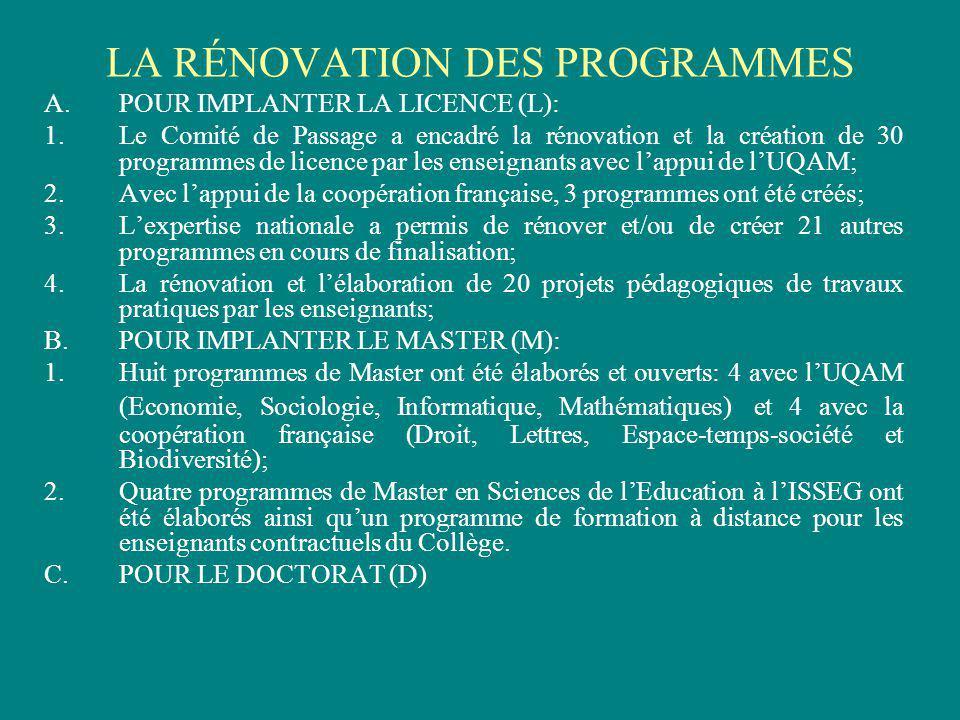 LA RÉNOVATION DES PROGRAMMES