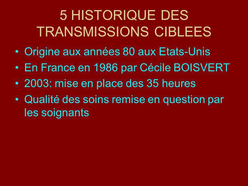 5 HISTORIQUE DES TRANSMISSIONS CIBLEES