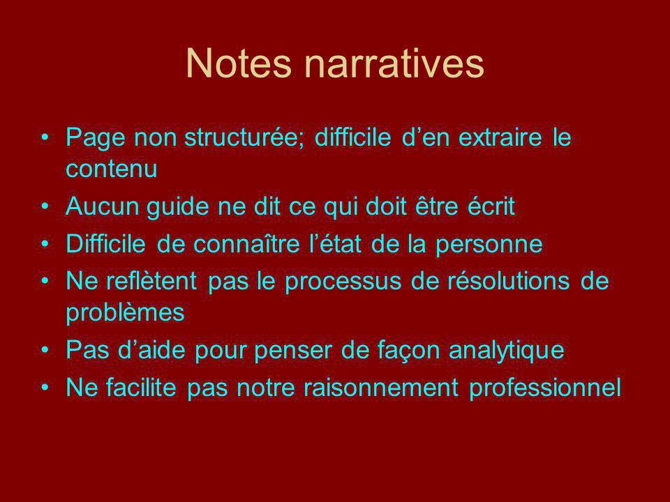 Notes narratives Page non structurée; difficile d'en extraire le contenu. Aucun guide ne dit ce qui doit être écrit.