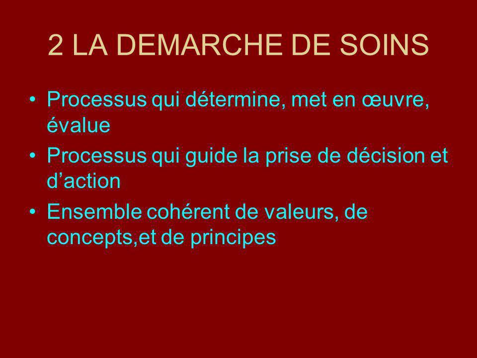 2 LA DEMARCHE DE SOINS Processus qui détermine, met en œuvre, évalue