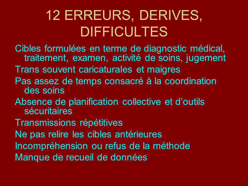 12 ERREURS, DERIVES, DIFFICULTES