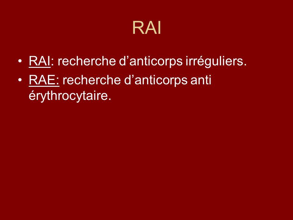 RAI RAI: recherche d'anticorps irréguliers.