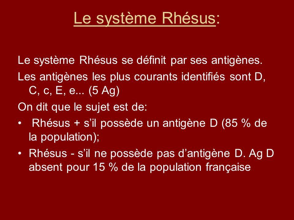 Le système Rhésus: Le système Rhésus se définit par ses antigènes.
