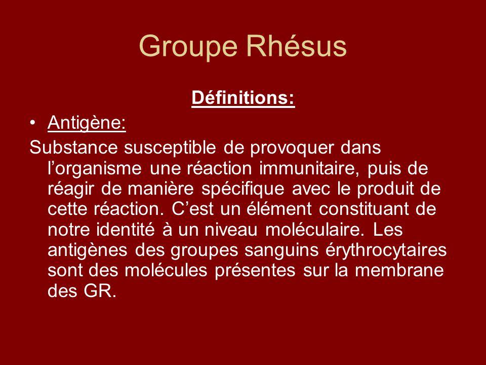 Groupe Rhésus Définitions: Antigène: