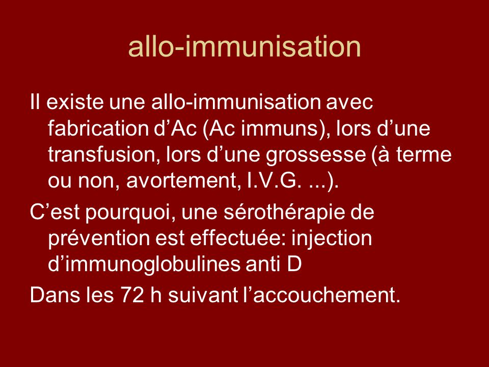 allo-immunisation