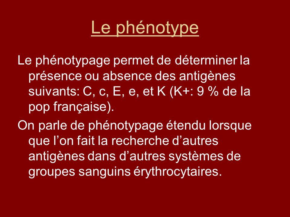 Le phénotype Le phénotypage permet de déterminer la présence ou absence des antigènes suivants: C, c, E, e, et K (K+: 9 % de la pop française).