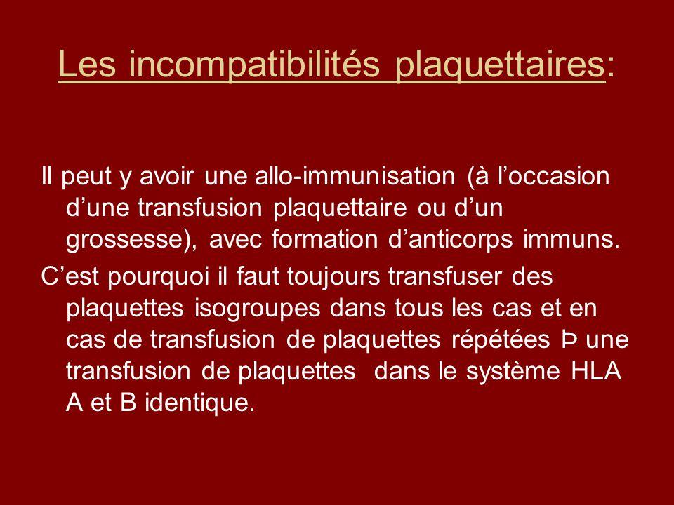 Les incompatibilités plaquettaires: