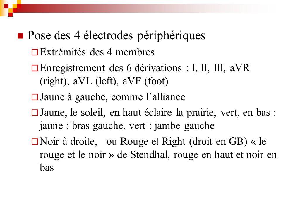 Pose des 4 électrodes périphériques