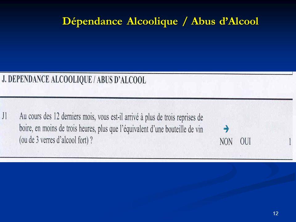 Dépendance Alcoolique / Abus d'Alcool