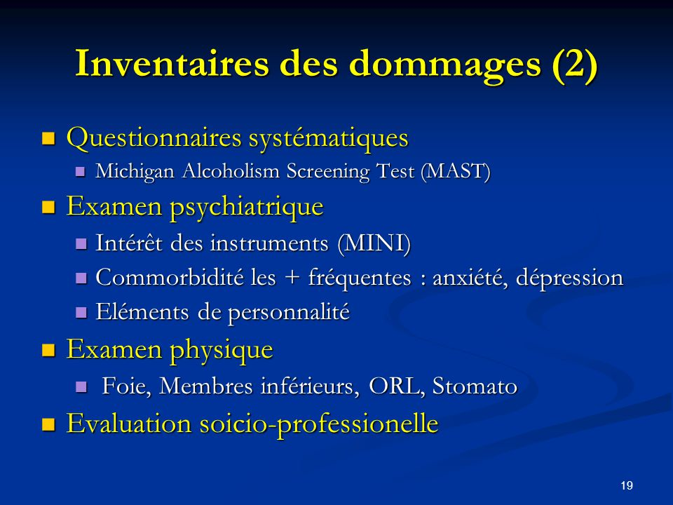 Inventaires des dommages (2)