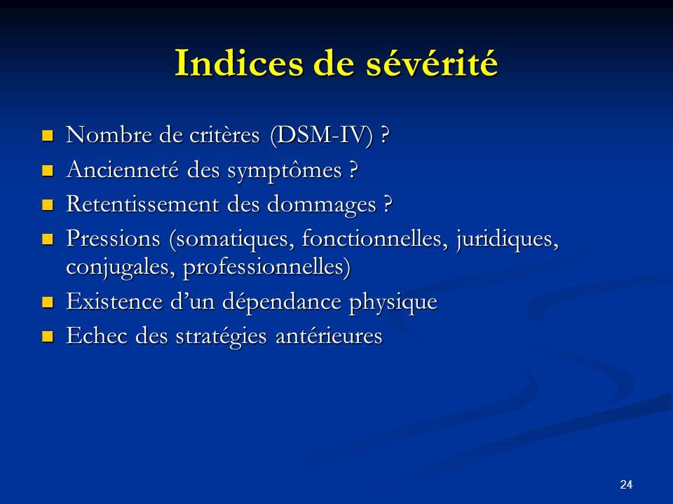 Indices de sévérité Nombre de critères (DSM-IV)